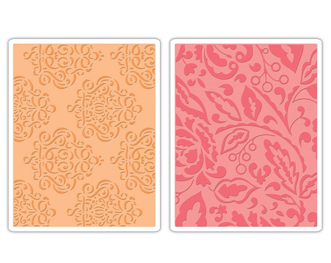Sizzix Textured Impressions Embossing Folders 2PK - Curly Gate & Berry Splash Set 657395