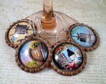 Italian Winery Wine Charms, Wine Glass Accessories, Hostess Gift, House Warming Gift, Set of 4