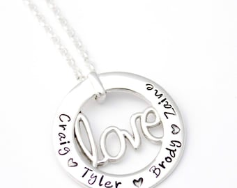 Sterling Silver Love Pendant - Personalised - Hand Stamped - Love Necklace - Mrs Fickle's - Mother's Necklace - Name pendant - Personalized