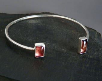 Tourmaline bracelet / pink tourmaline jewelry / tourmaline bangle / tourmaline crystal / tourmaline jewelry / October birthstone / gift