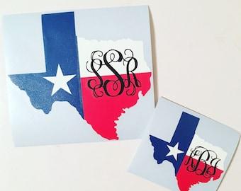 Texas Monogram Decal, Texas Decal, Texas Flag Decal, Texas Flag Monogram Decal, Texas Monogram, Decal for Texans