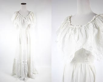 1960's Wedding Gown  | White Cotton Lace Hanky Hem Dress