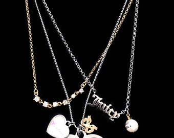 Juicy Couture 'Let Them Eat Couture' Multi-Heart and Chain Charm Necklace