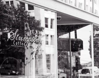 Portland Oregon Photography, Stumptown Coffee Cafe Architecture Pacific Northwest City Abstract  Modern Travel Black and White Art Print