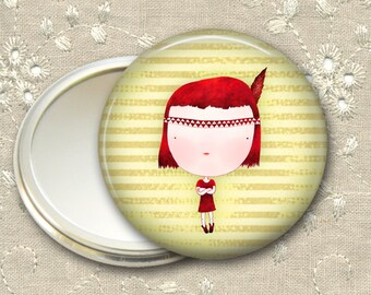 cute girl pocket mirror,  red haired girl art hand mirror, mirror for purse, gift for her,  bridesmaid gift, stocking stuffer  MIR-106