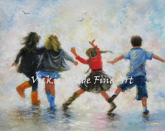 Three Girls and Boy Art Print, three sisters and brother, four children, happy feet, children playing wall art, teens, Vickie Wade art