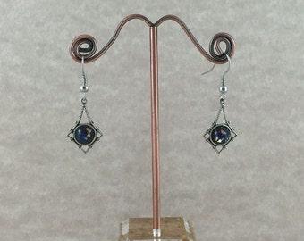 Art Deco Dark Blue Opal Earrings