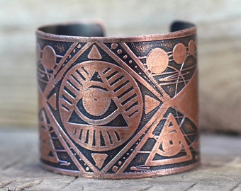 Etched Copper Cuff Bracelet All Seeing Eye Bracelet Copper Bracelet Copper Jewelry Occult Jewelry Sacred Geometry Masonic Jewelry