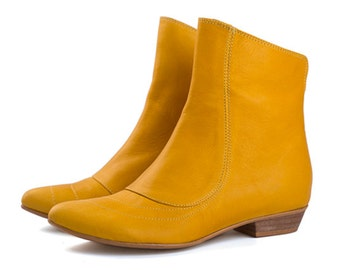Yellow leather boots, flat boots, kim, handmade leather boots