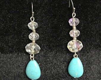 Clear and Turquoise drop earrings