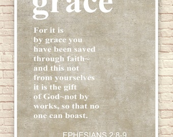 Christian Art Print, Christian Wall Art, Christian Gift, Christian Scripture, Ephesians 2, Christmas Gift, Faith, Grace, Bible Quotes.