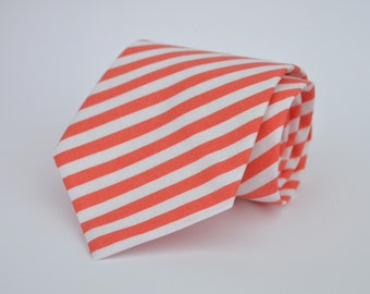 Coral and White Striped Necktie