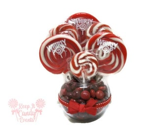 Small Red Lollipop Centerpiece, Red Wedding Centerpiece, christmas wedding ideas, red centerpiece, Valentines day gift, candy centerpieces