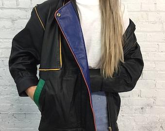 vintage 80's leather color block jacket /  new wave leather coat / Punky Brewster vibe leather jacket