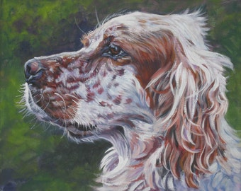 "English SETTER dog art PORTRAIT canvas PRINT of LAShepard painting 8x10"""