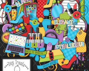 Divalicious Digital Scrapbook Kit.  Girls, Teens Themed Scrapbook Kit, Digital Papers, Clip Art, Word Tags and More. **INSTANT DOWNLOAD***