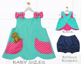 Baby Girls Sewing Pattern pdf, Baby Sewing Pattern pdf, Toddler Pattern, Childrens Sewing Pattern, Baby Cothing Sewing Pattern, SCANLAN
