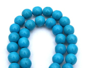 8 mm Blue Turquoise, Magnesite and Howlite Round Beads