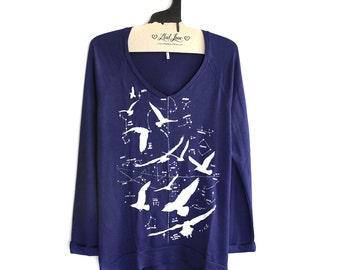 Small - Navy SUPER SOFT V-Neck Long Sweater/Sweatshirt with Night Birds Screen print