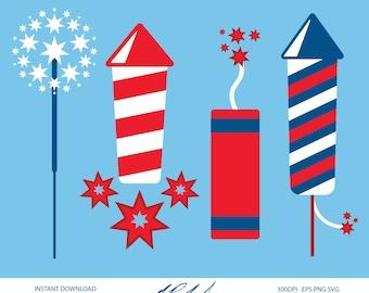 Fireworks Digital Cut Files - Digital Files - Fireworks Clipart - Fireworks DXF - Fireworks SVG - Firecracker Clipart - Fireworks PNG