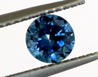 0.75ct Blue Sapphire, 5.1mm Montana Sapphire, Precision Cut in the USA, Top Blue Color, Artisan Cut Stone for Engagement Ring, Mkht212