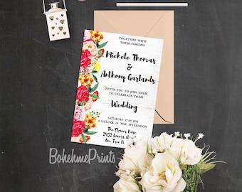 Summer Wedding Invitations Floral Watercolor Wedding Invitation Barn Wedding Invitation Save the Date Spring Wedding Invitation Printable