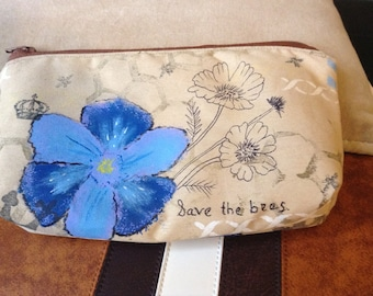 Essential oil zippered pouch, hand painted pouch