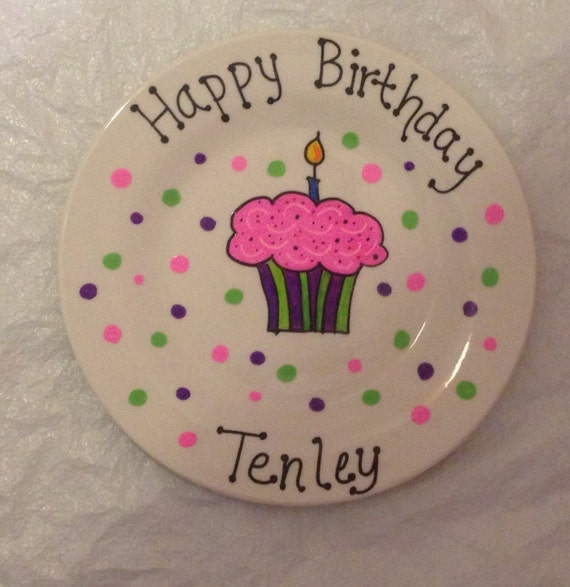Happy Birthday Plate Personalized Plate Hand Painted Plate