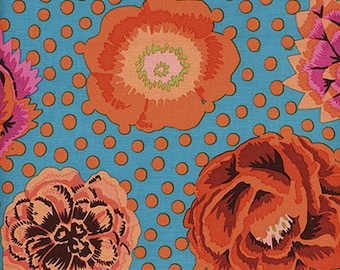 BIG BLOOMS in Turquoise  GP91 - Kaffe Fassett Collective Classics for Free Spirit Fabrics - By the Yard