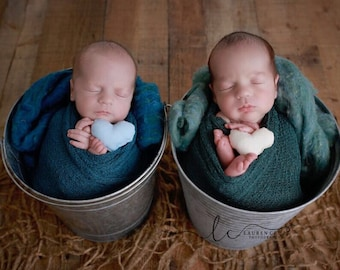 Topaz Blue or Pine colored stretch knit wraps, perfect for twins, good colors for boys or girls, Lil Miss Sweet Pea