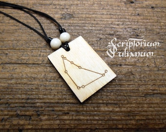 Wooden Capricorn necklace, Capricorn constellation necklace, January birthday gift, gift for him, gift for her, Capricorn man,astrology gift