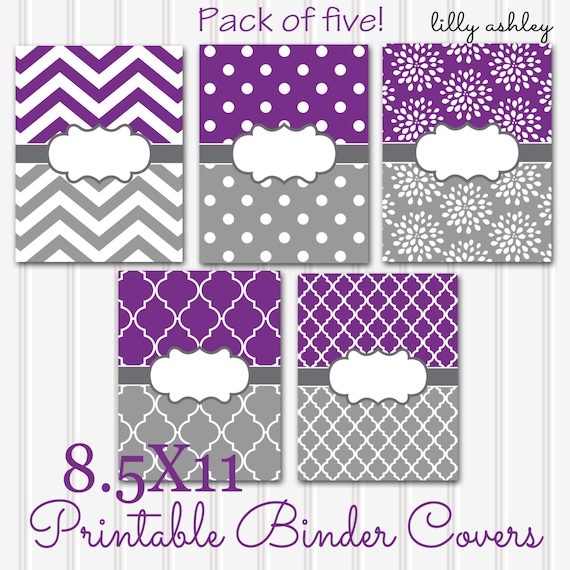 Printable Binder Covers Set Of 5-8.5x11 JPG Format Not