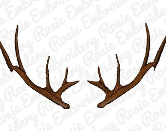 Deer Antlers Silhouette Embroidery Design Instant Download Digital Pattern - Hunting Animal Forest Natural RE63