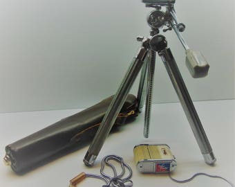 Vintage Royal Tripod with Case, Light Meter, Neck Chain
