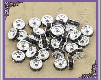 50 Black Rhinestone Rondelle Silver Spacer Beads 8mm