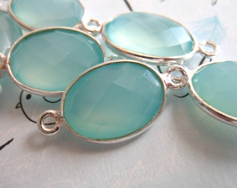Shop Sale... 1 2 5 10 pc, CHALCEDONY Gemstone Connectors Links, Bezel Set, 21.5x11.5 mm, 24k Gold Vermeil or Sterling Silver,  gc gcl20 ll
