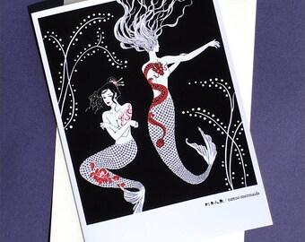 tattoo mermaids greeting card