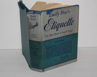 Emily Post's Etiquette The Blue Book of Social Usage HC/DJ 1948 Edition Manners