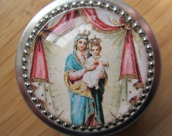 Item #41 ~ Mother of the Sacred Heart Rosary case/ jewelry box stash box gift tin  vintage print, first communion boy girl, baptism