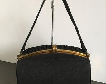 Vintage Art Deco Black Handbag Box Bag In Corde effect Fabric Ribbed Nice Condition