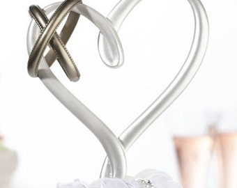 Heart Wedding Cake Toppers with Rings Baking Supplies