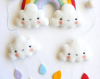 Felt PDF pattern -  Rainbow and clouds baby crib mobile - Felt mobile ornaments, easy sewing pattern, digital item