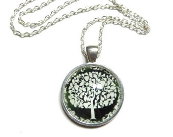 Tree Of Life Necklace Yoga Jewelry Black And White Dome Pendant Family Tree Mother's Day Boho Chic Gift For Her Christmas Stocking Stuffer