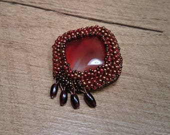 Carnelian stones and fine glass beads brooch