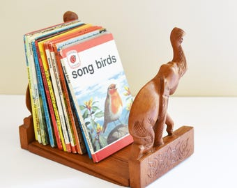 Vintage Wooden Carved Elephant  bookends - shelf styling - Bohemian Home - Jungelo Style