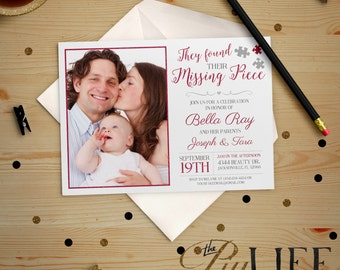 Pink Found their Missing Piece Adoption Party photo Baby Shower Invitation Printable DIY No. I232