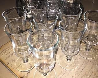 Vintage Etched Cordial Stemmed Glasses
