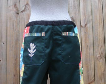 mens shorts green patchwork retro CUSToM Dude Shorts peanuts Charlie Brown SNoopy  hippie patchwork six pocket 30 32 34 36 38 40