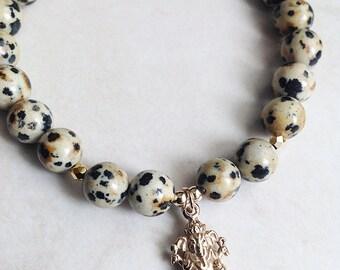 Luck -  Dalmatian Jasper and Lucky Ganesh Bracelet, Yoga Bracelet, Meditation Bracelet, Ganesha Bracelet