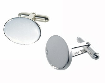 Oval silver cufflinks with 3mm thick plates ideal for engraving